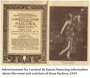 Advertisement for Carnival de Danse, featuring information about the event and a picture of Anna Pavlova, 1914