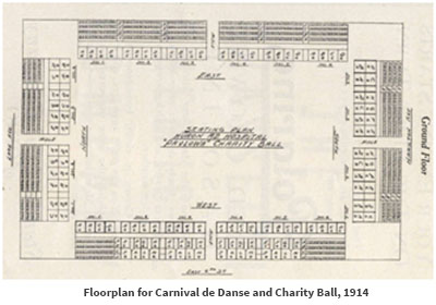 Floorplan for Carnival de Danse and Charity Ball, 1914