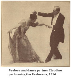 Pavlova and dance partner Claudine performing the Pavlovana, 1914