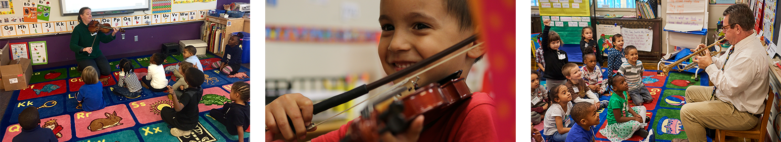 children learning from musicians in classroom