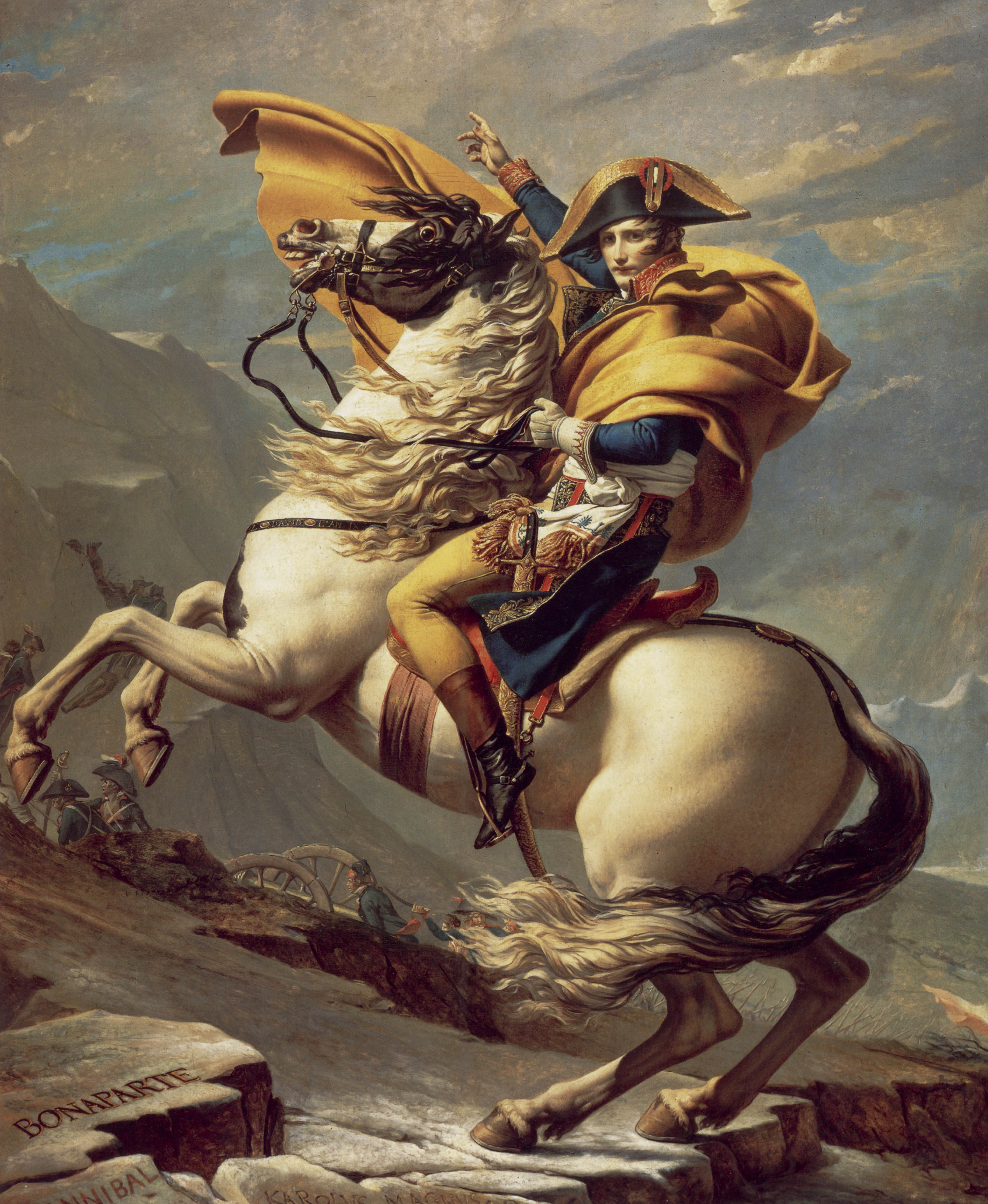 Painting of Napoleon Bonaparte when he was First Consul. Atop a horse and garbed in military finery, he h<em>Eroica</em>lly points the way forward for his men to cross the Alps.
