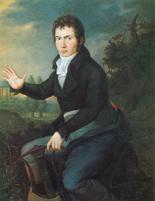 Portrait of Beethoven in pastoral ancient Greece. He is holding a lute with one hand and gesturing to the viewer with the other.