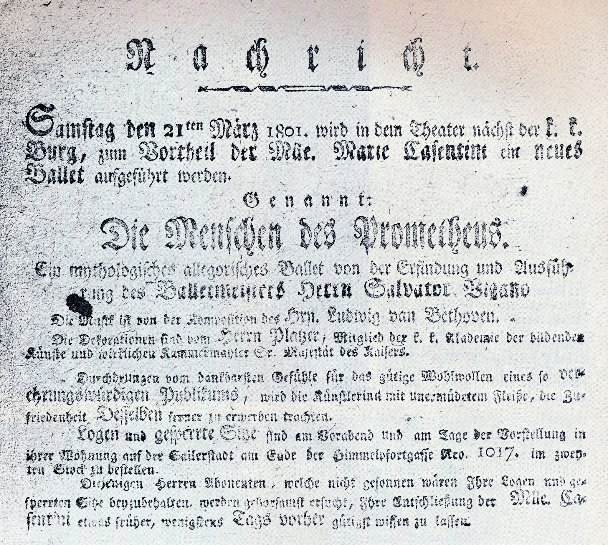 Faded handbill for the premiere performance of The Creatures of Prometheus (March 28, 1801).