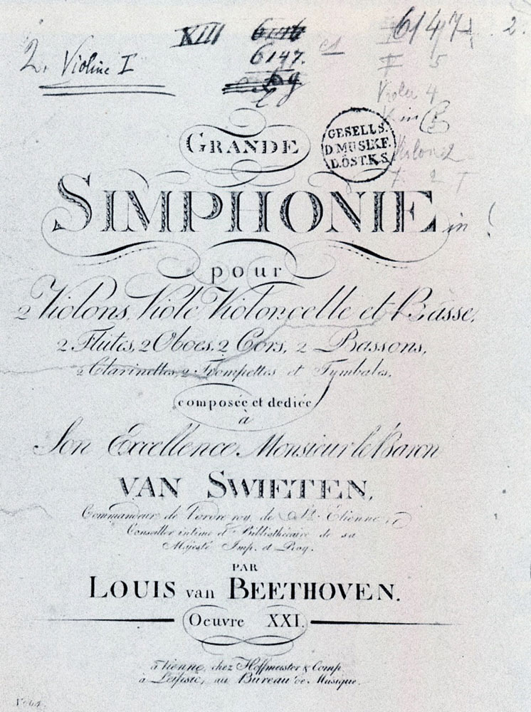 "Title page to the first edition of Beethoven's First Symphony. Beethoven's name is given as ""Louis van Beethoven."""