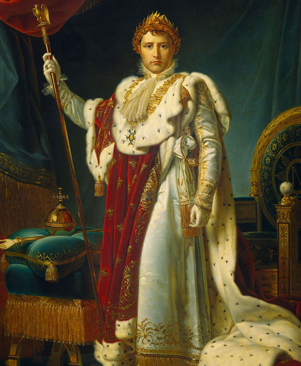 Portrait of Napoleon Bonaparte as Emperor. He is clothed in elaborate and lush red and white robes, and holds a golden scepter.