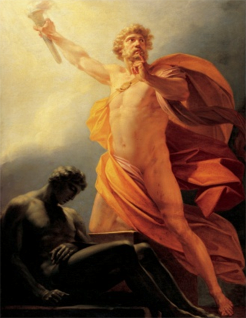 A painting; on the right side stands Prometheus holding aloft the stolen fire. On the left is a slumped human figure shrouded in darkness.