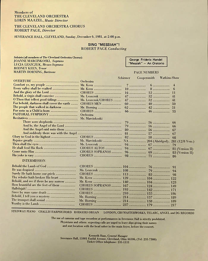 "Legend included in 1981 ""Sing Messiah"" concert program, providing page numbers of each movement in major editions of Handel's Messiah."""