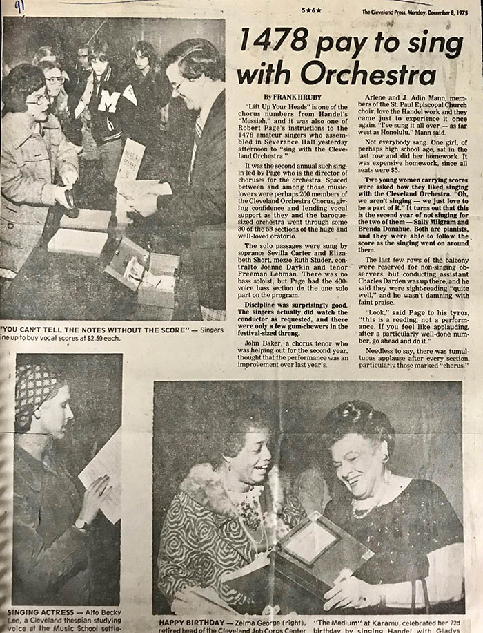 "Article appearing in the Cleveland Press (12/9/1975) with the headline ""1,478 pay to sing with Orchestra"" and featuring photographs of eager attendees preparing for ""Sing Messiah!"""