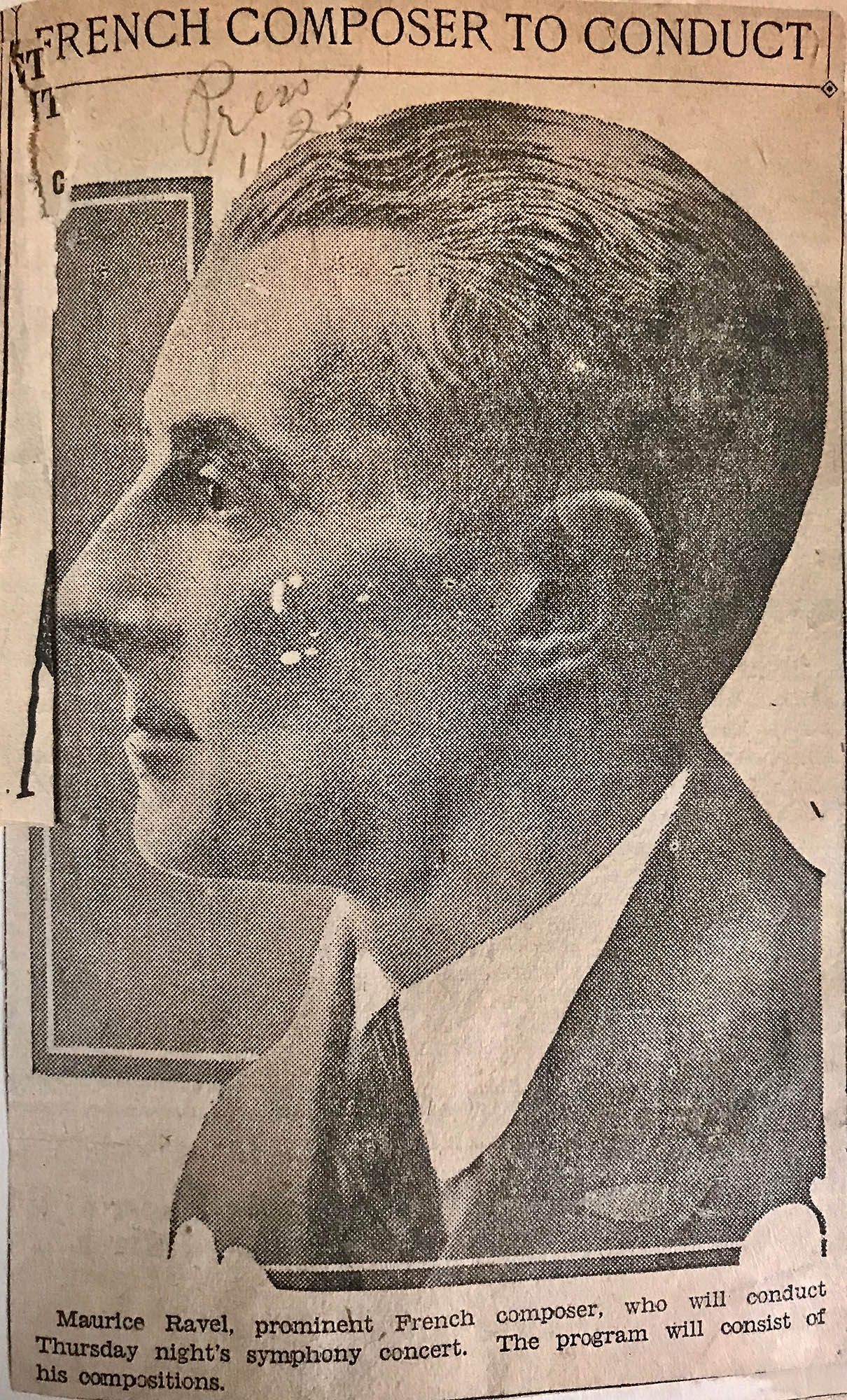"Portrait of Maurice Ravel with the headline, ""French Composer to Conduct"""
