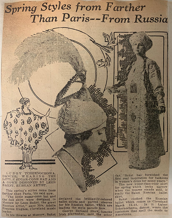 "Feb. 17, 1916 article from the Cleveland Press with a headline that reads: ""Spring Styles from Farther than Paris—From Russia!"" depicting in-vogue fashion pieces, including a feathered hat and traditional Russian garment."