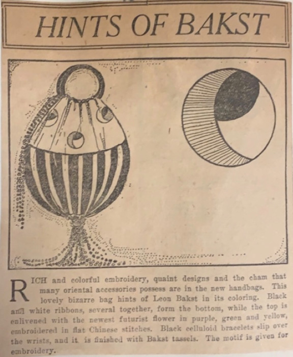 "March 12, 1916 article from the Plain Dealer that reads: ""Hints of Bakst"" and advertises the sale of a handbag inspired by the Russian designer Leon Bakst"