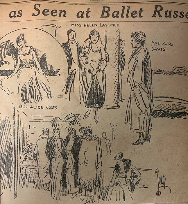 "March 17, 1916 article from Cleveland Plain Dealer with a headline that reads: ""As Seen at the Ballet Russe"" containing sketches capturing fashion choices of Petrouchka attendees."