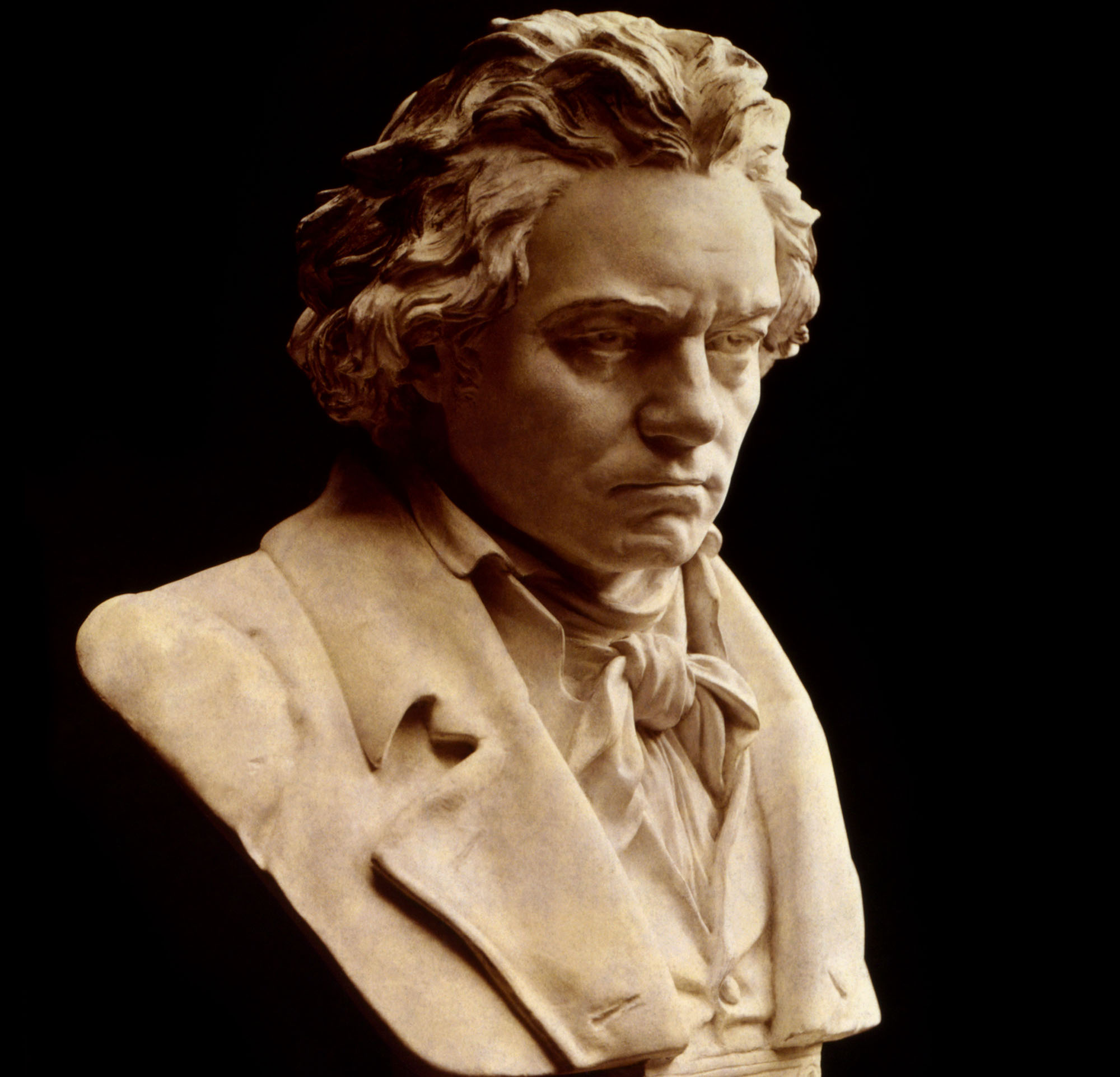 A bust of Beethoven. He looks sad and brooding.