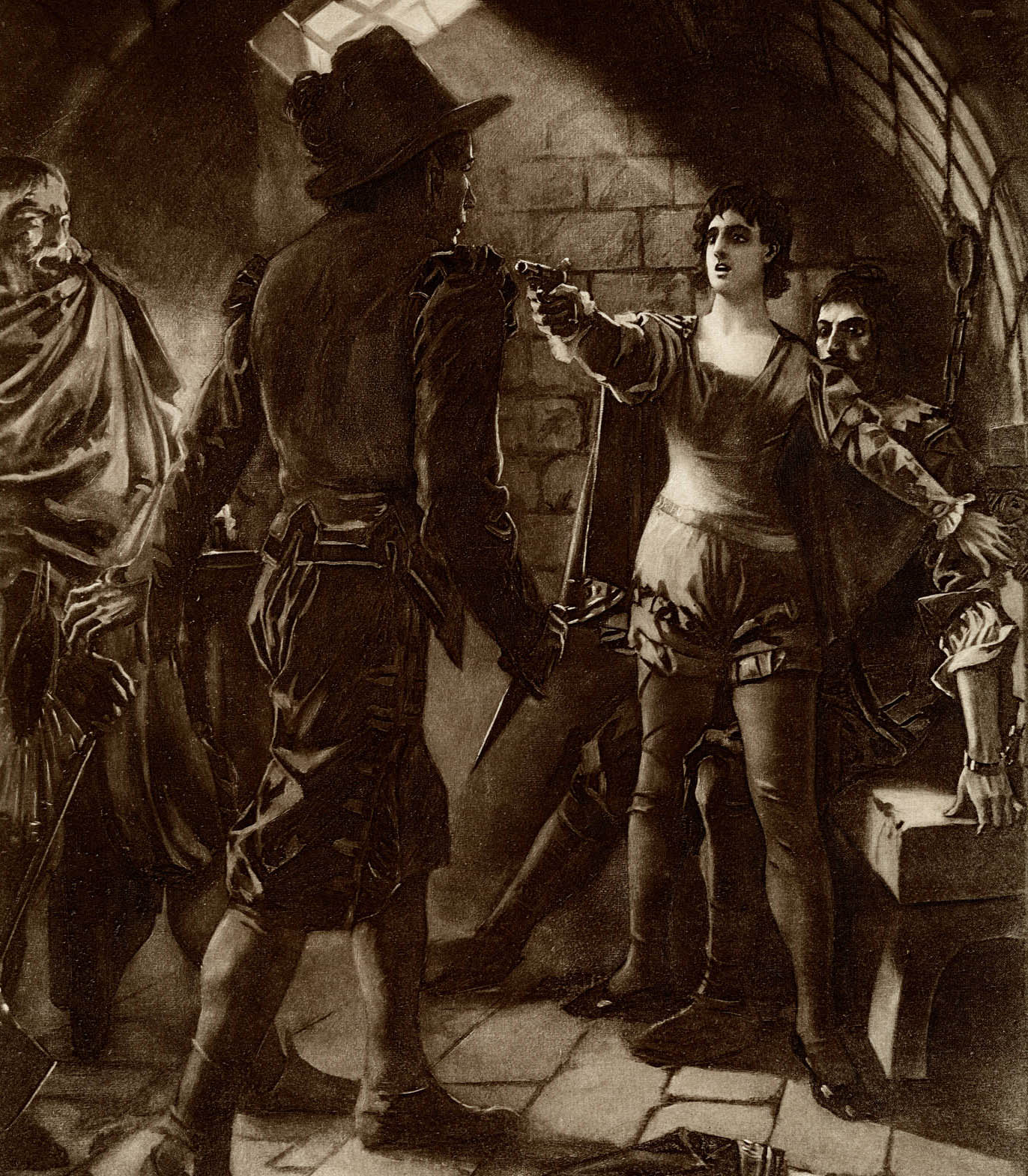 Don Pizarro, with his knife drawn, is approaching Florestan. Leonora, illuminated by light shining through the cell window, is shielding Florestan. She has drawn and aimed her pistol at Don Pizarro. Both Leonora and Florestan have their backs against the cell wall.