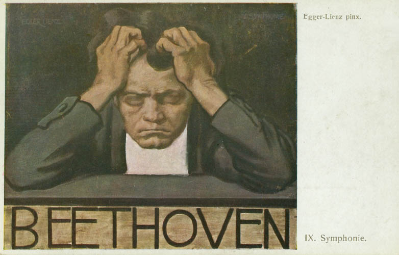 Beethoven, holding his head in his hands, has a pained expression and looks to be deep in thought.