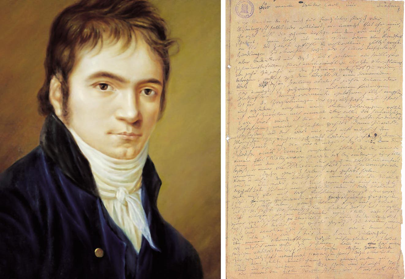 (left) Beethoven in his early thirties. Blue jacket, white scarf, looking directly at the viewer. (right) Letter by Beethoven, in his distinctively messy handwriting.