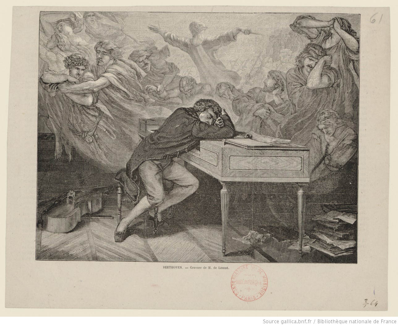 Beethoven slumped over a desk, and having fevered and unsettling visions.