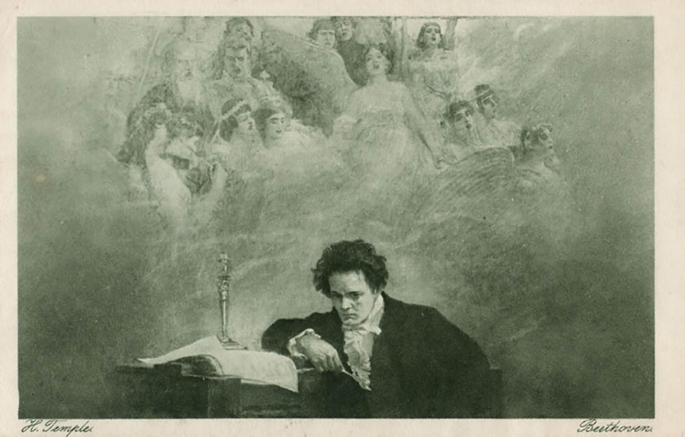 Beethoven at his desk, looking morosely forward as an unearthly chorus appears to sing to him.