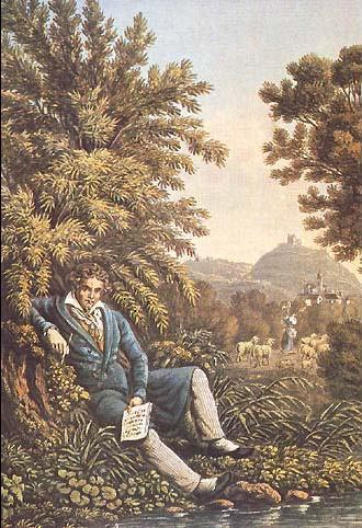 Beethoven is resting near a stream, with music and pen in his hands.
