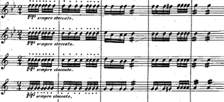 Excerpt of a musical score showing woodwinds playing repeated notes